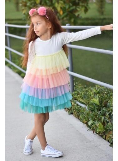 Colorinas Rainbow Tutu Elbise Beyaz Beyaz